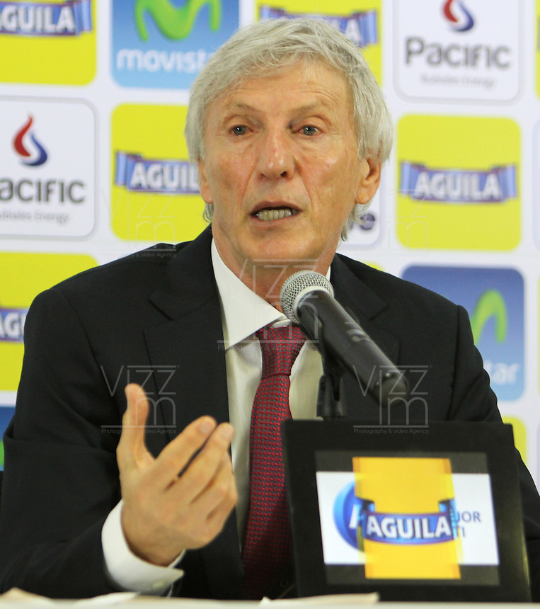 BOGOTA -COLOMBIA, 16- 04-2014. Conferencia de prensa ofrecida por José Pekerman director tecnico de la seleccion Colombia de futbol de mayores sobre el plan de trabajo previo al mundial de Brasil-2014  en la sede deportiva de las selecciones Colombia de la FCF. Press conference by José Pekerman coach of Colombia's soccer selection higher on previous work plan to 2014 World Cup in Brazil-based sports selections Colombia FCF. Photo: VizzorImage / Nestor Silva / Contribuitor