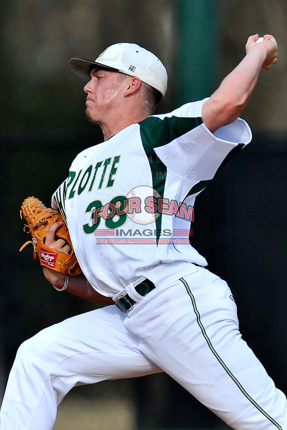 Starting pitcher Josh Maciejewski (38) of the Charlotte 49ers delivers a pitch in Game 2 of a doubleheader against the Fairfield Stags on Saturday, March 12, 2016, at Hayes Stadium in Charlotte, North Carolina. (Tom Priddy/Four Seam Images)