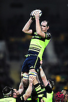 Devin Toner of Leinster Rugby wins the ball at a lineout. European Rugby Champions Cup match, between Northampton Saints and Leinster Rugby on December 9, 2016 at Franklin's Gardens in Northampton, England. Photo by: Patrick Khachfe / JMP