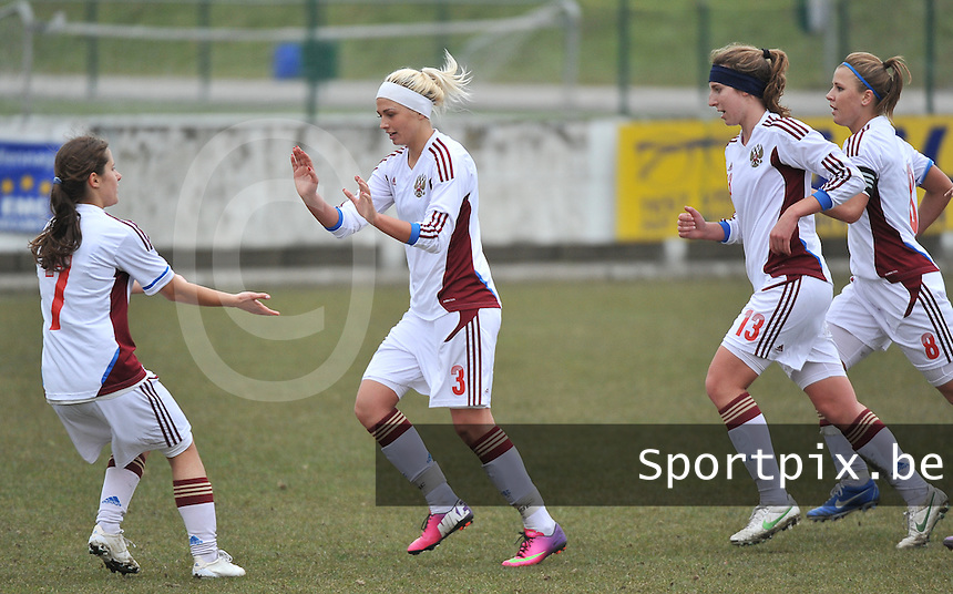France U19 - Russia U19 : Ksenia Kovalenko (3) celebrating her penalty goal for Russia.foto DAVID CATRY / Nikonpro.be