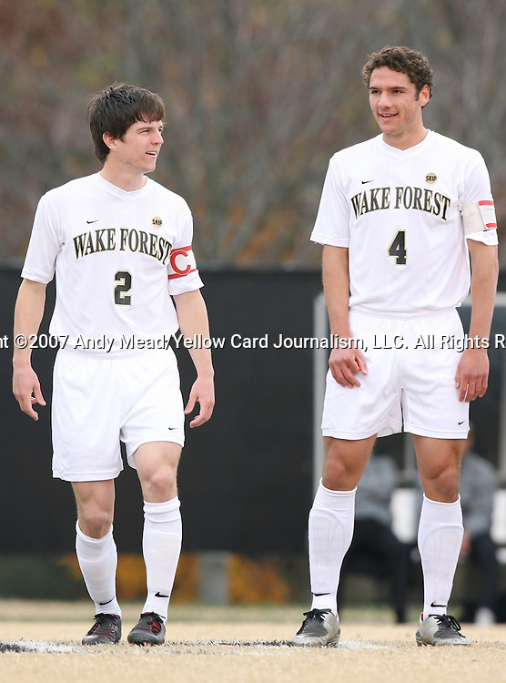 02 December 2007: Wake Forest's Sam Cronin (2) and Julian Valentin (4). The Wake Forest University Demon Deacons defeated the West Virginia University Mountaineers 3-1 at W. Dennie Spry Soccer Stadium in Winston-Salem, North Carolina in a Third Round NCAA Division I Mens Soccer Tournament game.