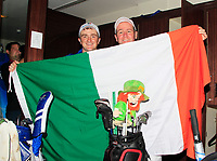Paul Dunne and caddy Darren Reynolds in the team changing room after Team Europe overcame Asia 14/10 to win the Eurasia Cup at Glenmarie Golf and Country Club on the Sunday 14th January 2018.<br /> Picture:  Thos Caffrey / www.golffile.ie