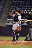 Tampa Yankees catcher Sharif Othman (62) during a game against the Lakeland Flying Tigers on April 7, 2017 at George M. Steinbrenner Field in Tampa, Florida.  Lakeland defeated Tampa 5-0.  (Mike Janes/Four Seam Images)