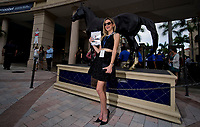 HALLANDALE BEACH, FL - JANUARY 27: A fan poses for a photo in front of the Cigar statue on Pegasus World Cup Invitational Day at Gulfstream Park Race Track on January 27, 2018 in Hallandale Beach, Florida. (Photo by Scott Serio/Eclipse Sportswire/Getty Images)