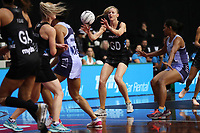 23.02.2018 Silver Ferns Katrina Grant in action during the Silver Ferns v Fiji Taini Jamison Trophy netball match at the North Shore Events Centre in Auckland. Mandatory Photo Credit ©Michael Bradley.