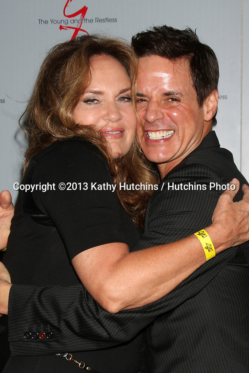LOS ANGELES - AUG 24:  Catherine Bach, Christian LeBlanc at the Young & Restless Fan Club Dinner at the Universal Sheraton Hotel on August 24, 2013 in Los Angeles, CA
