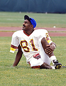 Washington Redskins wide receiver Art Monk (81) participates in warm-up drills during Washington Redskins training camp at Dickinson College in Carlisle, Pennsylvania on July 26, 1993.<br /> Credit: Ron Sachs / CNP