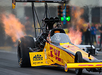Apr 12, 2019; Baytown, TX, USA; NHRA top fuel driver Richie Crampton during qualifying for the Springnationals at Houston Raceway Park. Mandatory Credit: Mark J. Rebilas-USA TODAY Sports