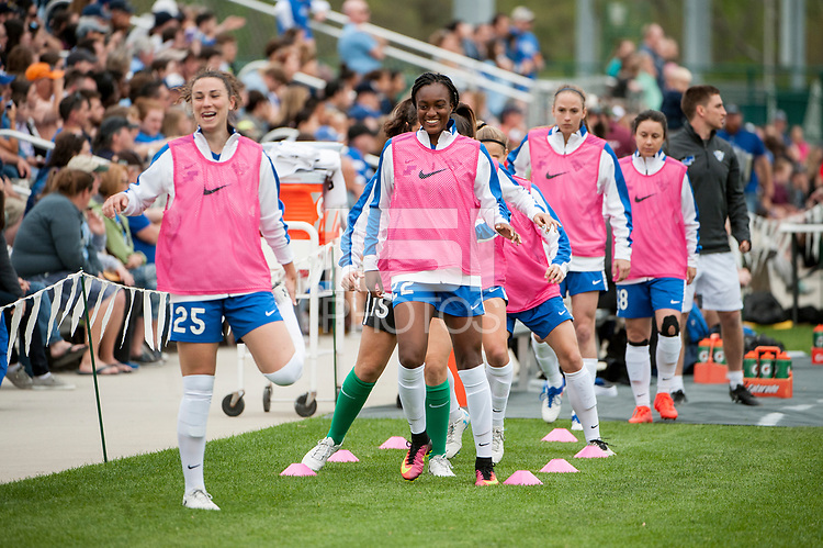Kansas City, MO - Sunday April 16, 2017: Morgan Andrews, Ifeoma Onumonu during a regular season National Women's Soccer League (NWSL) match between FC Kansas City and the Boston Breakers at Children's Mercy Victory Field.