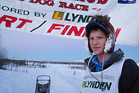 Ben Harper portrait at the finish line of the 2014 Jr. Iditarod Sled Dog Race at Happy Trails Kennel, Big Lake, Alaska<br /> Sunday February 23, 2014 <br /> <br /> Junior Iditarod Sled Dog Race 2014<br /> PHOTO BY JEFF SCHULTZ/IDITARODPHOTOS.COM  USE ONLY WITH PERMISSION