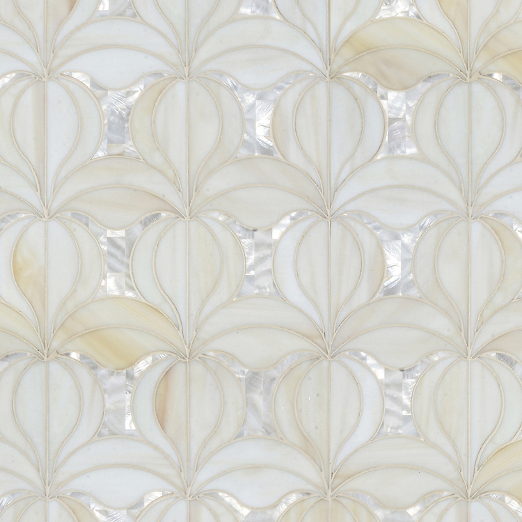 Calla, a jewel glass waterjet mosaic shown in Quartz and Shell, is part of the Miraflores Collection by Paul Schatz for New Ravenna.