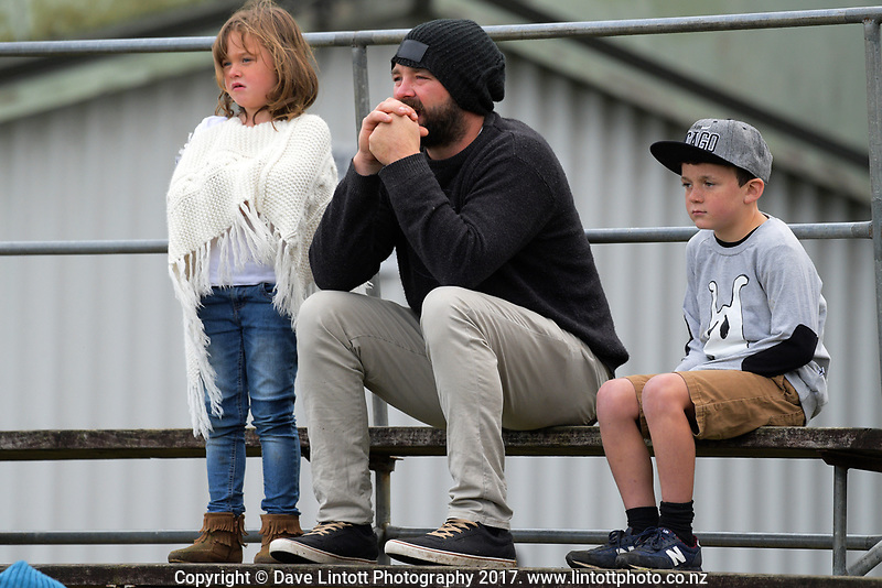 Fans watch the Northland premier club rugby match between Hora Hora and Waipu at Hora Hora Sports Park in Whangarei, New Zealand on Saturday, 3 June 2017. Photo: Dave Lintott / lintottphoto.co.nz