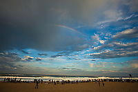 "Rainbow over the contest site.  CULS NUS BEACH, Hossegor/France (Saturday, October 2, 2010) -Mick Fanning (AUS), 29, reigning ASP World Champion, claimed his second, consecutive Quiksilver Pro France today, defeating fellow finalist, former nine-time ASP World Champion and current ASP World No. 1, Kelly Slater (USA), 38, in pumping six-to-eight foot (2.5 metre) barrels at Les Culs Nus Beach.. .Event No. 7 of 10 on the 2010 ASP World Tour, the Quiksilver Pro France culminated in dramatic fashion today with a bevy of high-scoring rides amidst the treacherous conditions, and it was the Australian besting the American in a hard-fought Final.. .""That was difficult,"" Fanning said. ""Kelly (Slater) and I were talking out there about how we were trying to get in the spot. There was just a lot of water moving and it was super challenging. I got absolutely hammered by that set - copped the whole thing on the head and it killed me. You were either in the spot or you weren't, and I was fortunate enough to be there for a couple."". .Notching his second, consecutive Quiksilver Pro France win today (and 13th ASP World Title event win), Fanning notes that the spectacular conditions gracing this year's event make the victory more enjoyable..Today's win moves Fanning from 5th to 3rd on the ASP World Title Race rankings, well within striking distance of the frontrunner position moving into the final three events of the season.Photo: joliphotos.com"