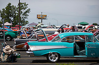 Cars sit on display on the show field after show and shine judging during the 4th State Representative Chevy Show on Saturday, July 2, 2016, in Fort Wayne, Indiana. (Photo by James Brosher)