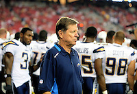 Aug. 22, 2009; Glendale, AZ, USA; San Diego Chargers head coach Norv Turner against the Arizona Cardinals during a preseason game at University of Phoenix Stadium. Mandatory Credit: Mark J. Rebilas-