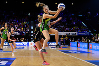 Pulse&rsquo; Maddy Gordon in action during the ANZ Premiership - Pulse v Magic at TSB Bank Arena, Wellington, New Zealand on Sunday 21 April 2019. <br /> Photo by Masanori Udagawa. <br /> www.photowellington.photoshelter.com