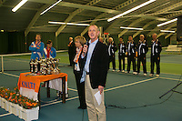Rotterdam, The Netherlands, 15.03.2014. NOJK 14 and 18 years ,National Indoor Juniors Championships of 2014, prize giving presentation, Trophy giving on court, <br /> Photo:Tennisimages/Henk Koster
