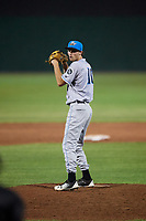 Hudson Valley Renegades relief pitcher Tanner Dodson (10) gets ready to deliver a pitch during a game against the Auburn Doubledays on September 5, 2018 at Falcon Park in Auburn, New York.  Hudson Valley defeated Auburn 11-5.  (Mike Janes/Four Seam Images)