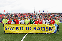 "The Austria and USA starters along with the referee crew holds the ""Say No To Racism"" banner prior to the start of the game. Austria (AUT) defeated the United States (USA) in overtime of a FIFA U-20 World Cup quarter-final match at the National Soccer Stadium at Exhibition Place, Toronto, Ontario, Canada, on July 14, 2007."