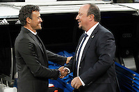 Real Madrid's coach Rafa Benitez (r) and FC Barcelona's coach Luis Enrique Martinez during La Liga match. November 21,2015. (ALTERPHOTOS/Acero) /NortePhoto