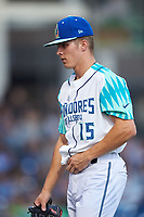 Los Lupulos de Hillsboro starting pitcher Drey Jameson (15) walks off the field during a Northwest League game against the Boise Hawks at Ron Tonkin Field on August 29, 2019 in Hillsboro, Oregon. Boise defeated Hillsboro 4-3. (Zachary Lucy/Four Seam Images)