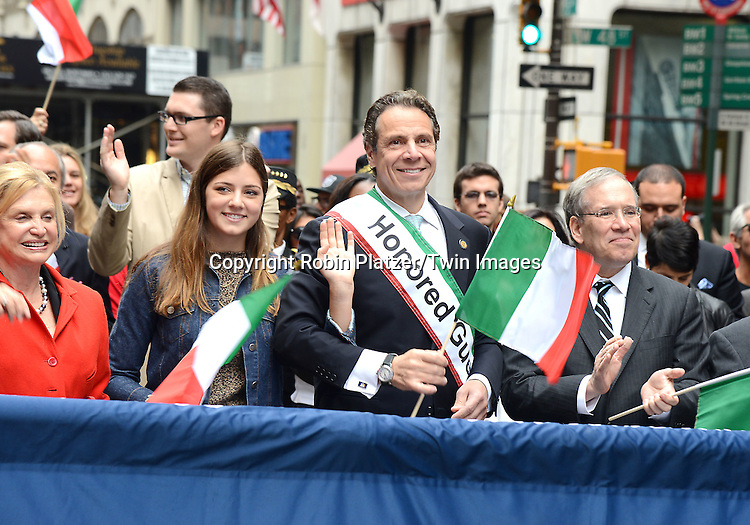 Governor Andrew Cuomo and daughter Michaela Cuomo and Scott Stringer march in the 70th Annual Columbus Day Parade on October 13, 2014 on Fifth Avenue in New York City. <br /> <br /> photo by Robin Platzer/Twin Images<br />  <br /> phone number 212-935-0770