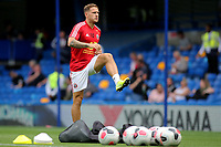 Billy Sharp of Sheffield United warms up ahead of kick-off during Chelsea vs Sheffield United, Premier League Football at Stamford Bridge on 31st August 2019