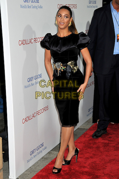 "BEYONCE KNOWLES.""Cadillac Records"" Los Angeles Premiere at Grauman's Egyptian Theatre, Hollywood, California, USA..November 24th, 2008.full length black dress silk satin puffball sleeves brooch buckle belt gold .CAP/ADM/BP.©Byron Purvis/AdMedia/Capital Pictures."