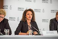 Pressegespraech zur Verleihung des 9. Amnesty Menschenrechtspreises am 16. April 2018 in Berlin.<br /> Amnesty International vergibt den Menschenrechtspreis 2018 an das Nadeem-Zentrum in Kairo als ein Zeichen gegen Folter in Aegypten.<br /> Stellvertretend fuer das Nadeem-Zentrum nahm der aegyptische Arzt und Menschenrechtsaktivist Taher Mukhtar entgegen, da die Betreiber des Zentrums nicht aus Aegypten ausreisen duerfen.<br /> Im Bild: Najia Bounaim, Stellvertretende Nordafrika-Direktorin fuer Kampagnen im Internationalen Sekretariat von Amnesty International.<br /> 16.4.2018, Berlin<br /> Copyright: Christian-Ditsch.de<br /> [Inhaltsveraendernde Manipulation des Fotos nur nach ausdruecklicher Genehmigung des Fotografen. Vereinbarungen ueber Abtretung von Persoenlichkeitsrechten/Model Release der abgebildeten Person/Personen liegen nicht vor. NO MODEL RELEASE! Nur fuer Redaktionelle Zwecke. Don't publish without copyright Christian-Ditsch.de, Veroeffentlichung nur mit Fotografennennung, sowie gegen Honorar, MwSt. und Beleg. Konto: I N G - D i B a, IBAN DE58500105175400192269, BIC INGDDEFFXXX, Kontakt: post@christian-ditsch.de<br /> Bei der Bearbeitung der Dateiinformationen darf die Urheberkennzeichnung in den EXIF- und  IPTC-Daten nicht entfernt werden, diese sind in digitalen Medien nach &sect;95c UrhG rechtlich geschuetzt. Der Urhebervermerk wird gemaess &sect;13 UrhG verlangt.]