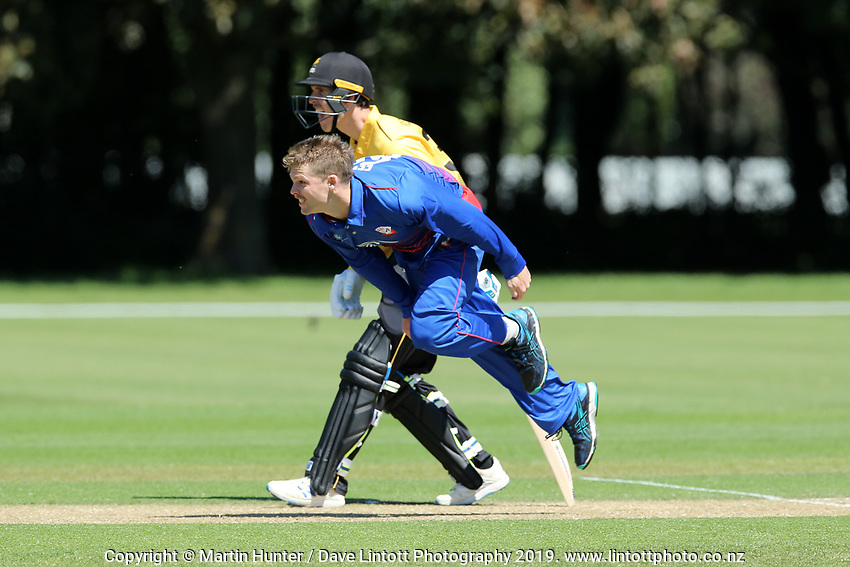 Lachie Ferguson bowls. Wellington Firebirds v Auckland Aces Ford Trophy One Day Match Round Three at Lincoln No.3 in Lincoln, New Zealand on Monday, 25 November 2019. Photo: Martin Hunter / lintottphoto.co.nz