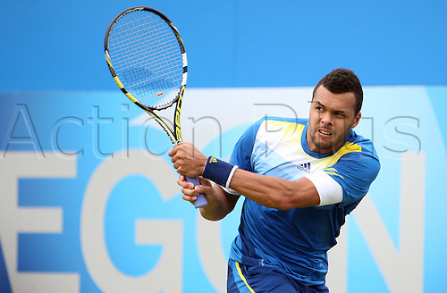13.06.2013.  London, England. Jo-Wilfried Tsonga in action against Edouard Roger-Vasselin during the The Aegon Championships from the The Queen's Club in West Kensington.