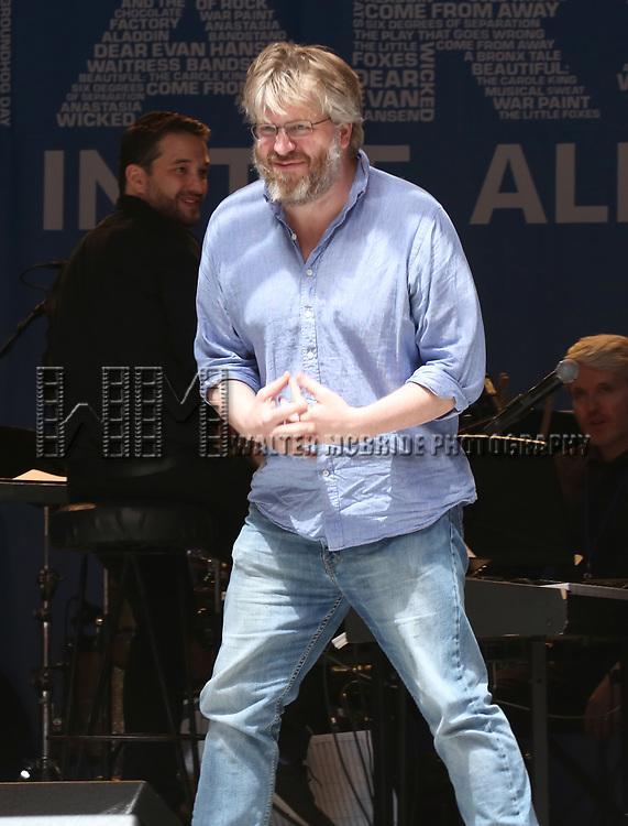 Dave Molloy on stage at United Airlines Presents #StarsInTheAlley free outdoor concert in Shubert Alley on 6/2/2017 in New York City.