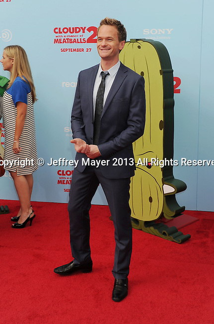 WESTWOOD, CA- SEPTEMBER 21: Actor Neil Patrick Harris arrives at the Los Angeles premiere of 'Cloudy With A Chance Of Meatballs 2' at the Regency Village Theatre on September 21, 2013 in Westwood, California.