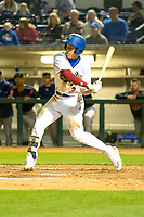 Rancho Cucamonga Quakes Jeren Kendall (3) at bat against the Lake Elsinore Storm at LoanMart Field on April 20, 2018 in Rancho Cucamonga, California. The Quakes defeated the Storm 7-5.  (Donn Parris/Four Seam Images)