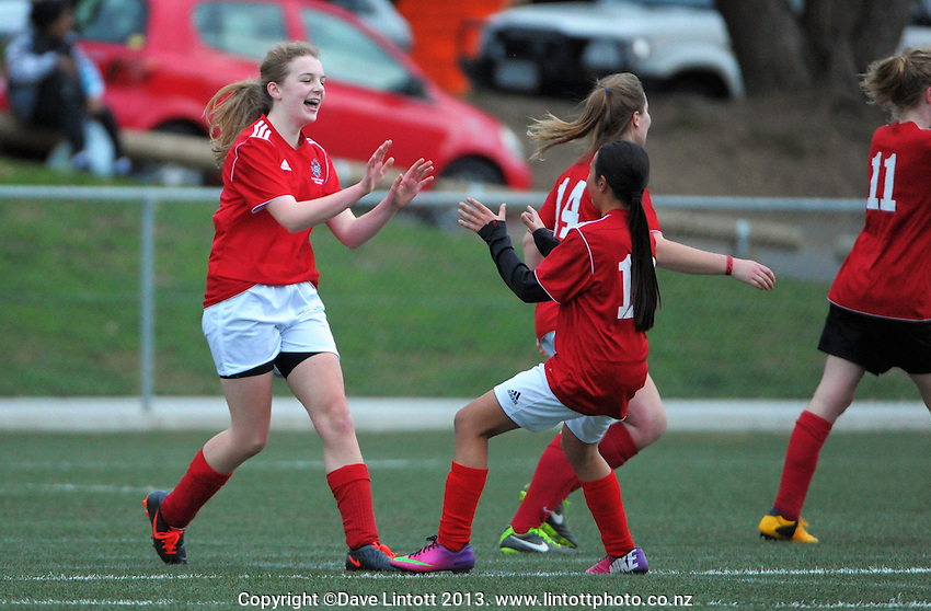 Sacred Heart's Olivia Wallis celebrates scoring the winning goal during the Wellington girls college football bronze playoff final between Sacred Heart College and Wellington High School at Wakefield Artificial Turf,  Wellington, New Zealand on Wednesday, 21 August 2013. Photo: Dave Lintott / lintottphoto.co.nz