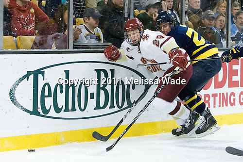 Patrick Brown (BC - 23), Brendan Ellis (Merrimack - 22) - The Boston College Eagles defeated the Merrimack College Warriors 5-3 to win the Hockey East championship for the tenth time on Saturday, March 19, 2011, at TD Garden in Boston, Massachusetts.