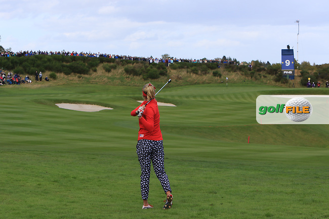 Lexi Thompson of Team USA on the 9th fairway during Day 1 Fourball at the Solheim Cup 2019, Gleneagles Golf CLub, Auchterarder, Perthshire, Scotland. 13/09/2019.<br /> Picture Thos Caffrey / Golffile.ie<br /> <br /> All photo usage must carry mandatory copyright credit (© Golffile | Thos Caffrey)