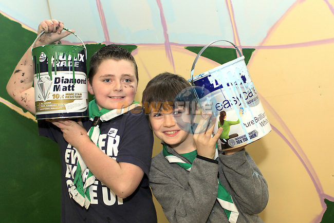 Fenn and Cormac from Buíon Setanta Scout Group painting a mural at the Scout Hall as part of the Dulux Let's Colour Project...(Photo credit should read Jenny Matthews www.newsfile.ie)....This Picture has been sent you under the conditions enclosed by:.Newsfile Ltd..The Studio,.Millmount Abbey,.Drogheda,.Co Meath..Ireland..Tel: +353(0)41-9871240.Fax: +353(0)41-9871260.GSM: +353(0)86-2500958.email: pictures@newsfile.ie.www.newsfile.ie.