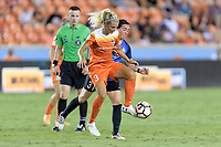 Houston, TX - Sunday August 13, 2017:  Christina Gibbons and Rachel Daly during a regular season National Women's Soccer League (NWSL) match between the Houston Dash and FC Kansas City at BBVA Compass Stadium.