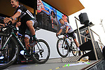 Bora-Hansgrohe team on stage at the Team Presentation in Burgplatz Dusseldorf before the 104th edition of the Tour de France 2017, Dusseldorf, Germany. 29th June 2017.<br /> Picture: Eoin Clarke | Cyclefile<br /> <br /> <br /> All photos usage must carry mandatory copyright credit (&copy; Cyclefile | Eoin Clarke)
