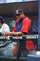Brevard County Manatees pitching coach David Chavarria (49) during a game against the St. Lucie Mets on April 17, 2016 at Tradition Field in Port St. Lucie, Florida.  Brevard County defeated St. Lucie 13-0.  (Mike Janes/Four Seam Images)