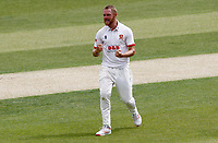 Jamie Porter of Essex celebrates taking the wicket of Ollie Robinson during Essex CCC vs Kent CCC, Bob Willis Trophy Cricket at The Cloudfm County Ground on 1st August 2020