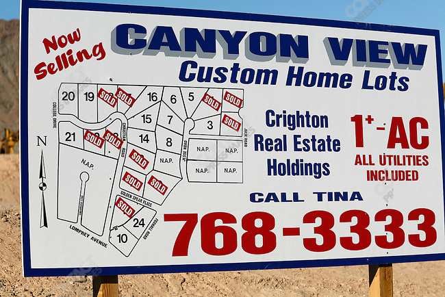 Sign for housing lots for sale, Lad Vegas, Nevada, USA, April 13, 2008.