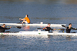 La Conner, Swinomish Channel, open water race, Sound Rowers Open Water Rowing and Paddling Club, Washington State, Pacific Northwest,  USA, RtoL: Peter Turcan and Jason Cross, HPK2, Evan Jacobs in the single and David Jacobson in the HPK,