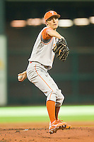 Texas Longhorns starting pitcher Hoby Milner #41 in action against the Tennessee Volunteers at Minute Maid Park on March 3, 2012 in Houston, Texas.  The Volunteers defeated the Longhorns 5-4.  (Brian Westerholt/Four Seam Images)