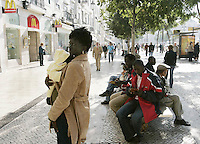 African immigrants stand at Rossio square in Lisbon 13 November,2006