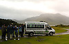 A wildlife expedition group on the Isle of Mull observing a Sea Eagle. When its raining these vans pull into this bay where I was camping every hour.<br /> <br /> Stock Photo by Paddy Bergin