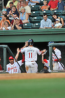 Third baseman Michael Chavis (11) of the Greenville Drive is congratulated by teammates after scoring in a game against the Greensboro Grasshoppers on Thursday, August 27, 2015, at Fluor Field at the West End in Greenville, South Carolina. Chavis was a first-round pick of the Boston Red Sox in the 2014 First-Year Player Draft. Greenville won, 10-2. (Tom Priddy/Four Seam Images)