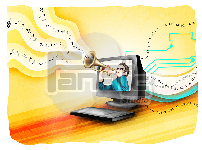 Man playing a trumpet in a computer