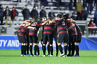 CARY, NC - DECEMBER 13: Stanford University's players huddle before the second half during a game between Stanford and Georgetown at Sahlen's Stadium at WakeMed Soccer Park on December 13, 2019 in Cary, North Carolina.